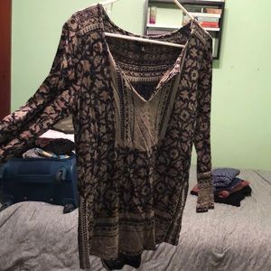 Lucky brand flower pattern 3/4 sleeve blouse